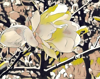 Spring Magnolia Blossom // Yellow Abstract Watercolor and Digital Fine Art // FRAME INCLUDED // 8 x 10 // Pop Art
