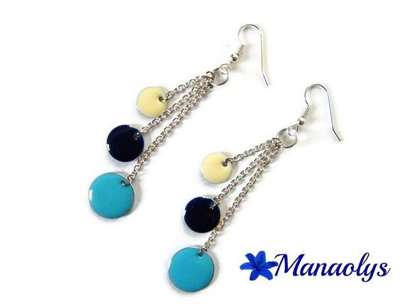 Blue earrings, enamel, sequins, long earrings, Blue Navy