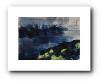 Original, miniature landscape in oil, expressive, 9 x 12 cm