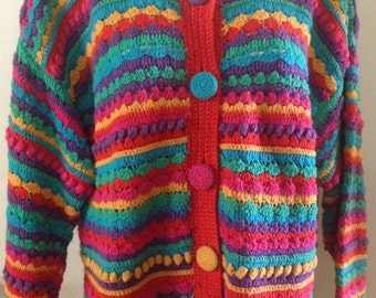 1980s Hand Knitted Cotton and Rayon Sweater by Segrets, Sun Prints. Size Medium.