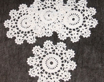 4 Crochet Thread coaster mini doily Ecru or Natural Star