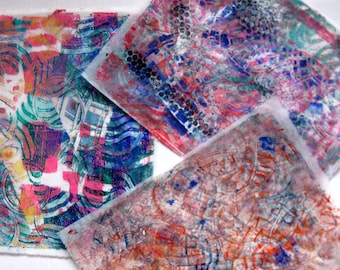 Original Handmade Gelli Print Collage Artist Papers for Mixed Media and Art Journaling 1203_04