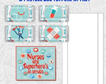 Nurses Hershey Mini's Candy Bar Wrapper, Printable favor Bag Toppers for Pretzel bags, and trays