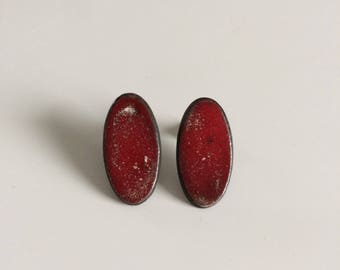 Earrings studs, red, round, ceramic, studs, earrings, red, ceramic