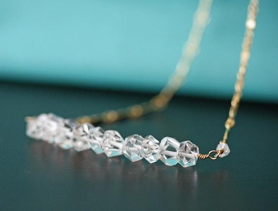 Herkimer Diamond Necklace, Bar Necklace, Crystal Necklace, Quartz Necklace, Minimal Necklace, Layering Necklace, Diamond Necklace