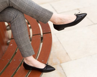Black pointed ballet flats | Limmat by Ava Costa