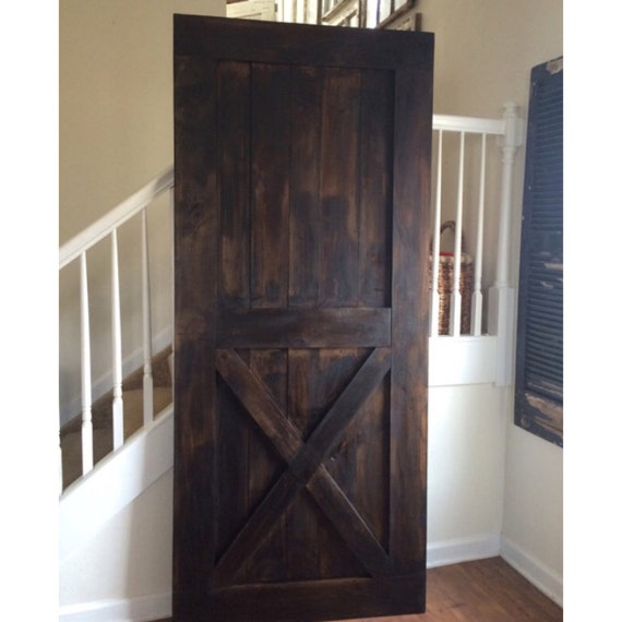 Custom Made Sliding Barn Door Half X Brace Design Dark