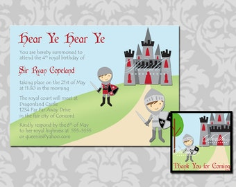 Knight Castle birthday invitation and favor tag - 5x7 invite and 2x2 or 3x3 favor tag - printable diy digital