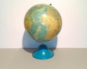 Vintage Large World Globe / Blue Pedestal / 80s Yugoslavia