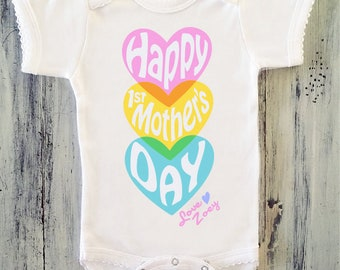 Baby boy happy first mothers day bodysuit personalized mothers day onesie baby girl happy first mothers day personalized mothers day gift 1st mothers day negle Images