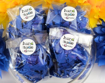PUFFetti Triangle Scrap Handmade Recycled CONFETTI Birthday FOUR (4) Favor Bags - Cobalt Blue Starry Night Theme -Events Handmade by DORANA