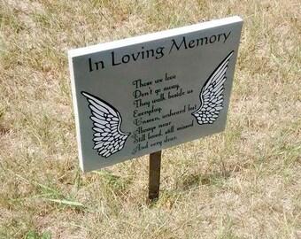 Angel Memorial Sign, Angel Wings Memorial, Custom Memorial Sign, Custom Grave Marker, Angel Wings Grave Sign, Black and Gray Grave Decor,