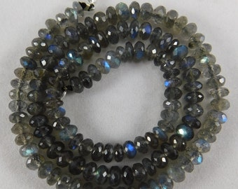 """16"""" Natural Madagascar Top Quality Labradorite Faceted Roundels Shape Semi Precious Beads 4-5 mm H21-01"""