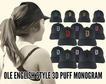 Your Custom Personalized 3D Puff Ole English Monogram Embroidery Adjustable Black Structured Ponytail Hairdo Women Fashion Open Baseball Cap