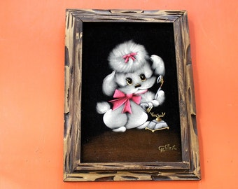 vintage velvet poodle art . white poodle black velvet painting . poodle on the telephone . anthropomorphic dog painting . vintage home decor