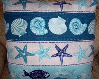 "HANDMADE Pillow Cover Shells Starfish Fish Aqua Blue 18"" tropical indoor outdoor coastal"