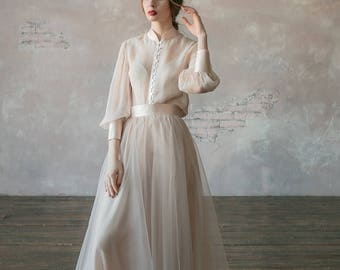 Grey Vintage Wedding Dress