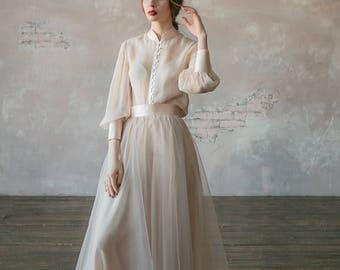 Custom wedding dress, Vintage wedding dress, winter wedding dress, Two piece summer wedding dress, tulle simple wedding dress - 2017 // 0134