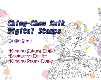Dollie Set 1 - Instant Download Digital Stamp/ Bookworm Peony Sakura Fantasy Kimono Fairy Girl by Ching-Chou Kuik