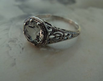 Sweet Sterling Light Green Amethyst Ring Size 5.75