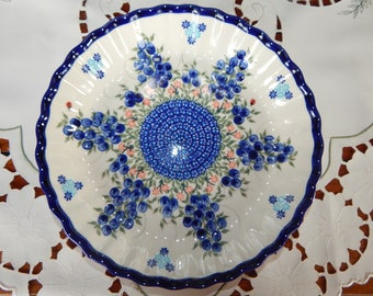 Blueberry Polish Pottery Pie Plate