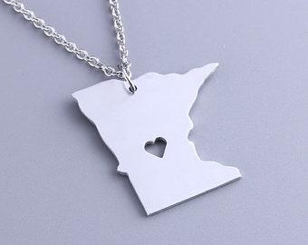 I heart Minnesota Necklace - Minnesota Pendant - State Charm - Map necklace - Map Jewelry