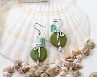 Colorful Earrings, Lime Green Earrings, Handmade Earrings, Gypsy Earrings, Boho Chic, Bohemian Jewelry , Fun Jewelry, Big Dangle Earrings
