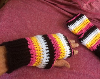 Hand crocheted  Finger-less mittens