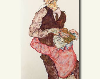Fine Art Paper - Lovers 1914/1915 - Egon Schiele Print Schiele Poster Gift Idea  bp
