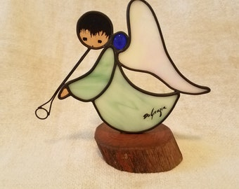 Vintage Signed Ted DeGrazia Angel with Trumpet on Stand