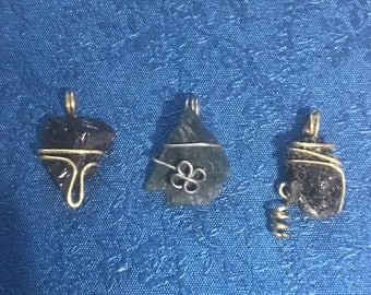 Set of 3 Small Wire Wrapped Charms
