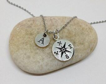 Compass Necklace, Friendship Necklace,Best Friend Necklace, Graduation Friends Necklace,bff necklace, Initial Necklace