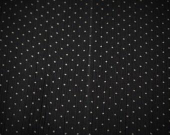 "Black White Polka Dot Print Georgette Gauze Fabric Craft Apparel 45""W #23 Sheer"