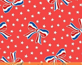 Storybook Americana - USA Bows / Stars in Red - Cotton Star Quilt Fabric - by Whistler Studios for Windham Fabrics - 42346-1 (W4227)