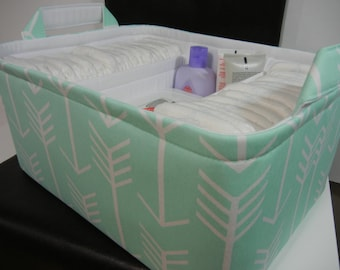"Ex Large Diaper Caddy-14""x 10""x 7""(CHOOSE Basket & Lining COLOR)Two Dividers-Baby Gift-Fabric Storage Organizer-""Mint Arrow"""