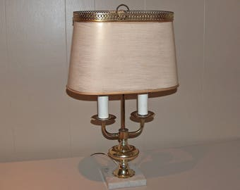 8393: Vintage French Bouillotte Table Lamp Brass Marble Base Double  Electric Light Candlestick Brass Gallery