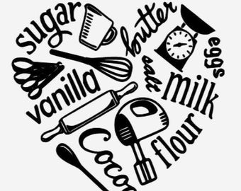 Kitchen Words Vinyl Decal Wall Art Stand Mixer Icon Decor Heart Baking Cooking
