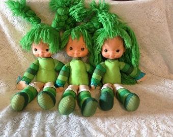 "Lot of 3 Rainbow Brite Dolls, 19"" Patty O' Green"