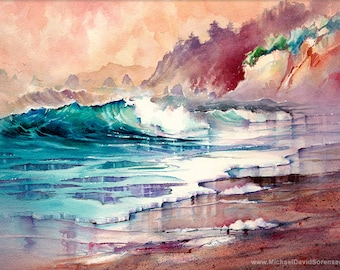Sailor's Delight - Sunset Ocean Watercolor Painting Print. Beach Art. Crashing Waves. Sandy Beach. Colorful Coastal Artwork Warm Colors Blue