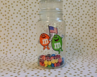 M&M's 4 USA~1984 Olympic Games~Apothecary Jar~Chocolate Candies~Anchor Hocking Glass~B12