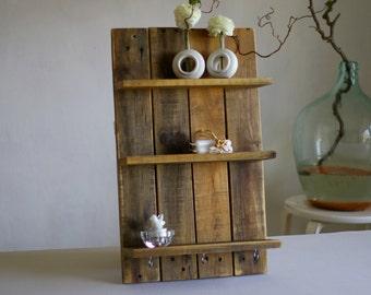 Upcycling shelf out of pallet wood, shelf, wall shelf, wood shelf with hooks, Brown
