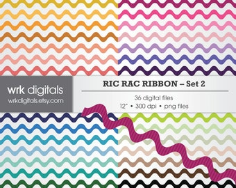 Ric Rac Ribbon Set 2 Clip Art Digital Pack, Digital Scrapbooking, Instant Download, Digital Border