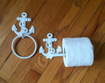 Bathroom set, Anchor towel holder, and toilet paper holder, distressed white, nautical