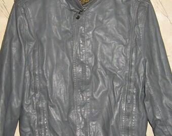 Vintage Men's gray Leather cafe racer Jacket by Jeffery Leathers.  '70's      size 42