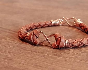 Men's Infinity Bracelet - 14k Rose Gold with Saddle Tan Leather Band