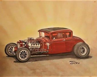 Old Red Vintage Hot Rod -