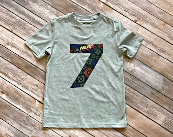 Boys Nerf Birthday Number Tee - monogram nerf applique age shirt dart gun laser tag arcade birthday party theme