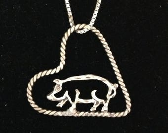 Pig in Floating Heart Necklace Pendant in Sterling Silver and on an 18 inch Silver Box Link Chain 4H FFA Show Pig Hog Livestock Jewelry
