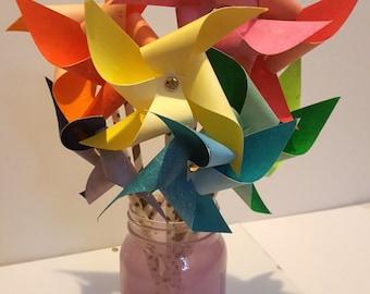 Paper Pinwheels - Rainbow Watercolor Theme (Set of 9)