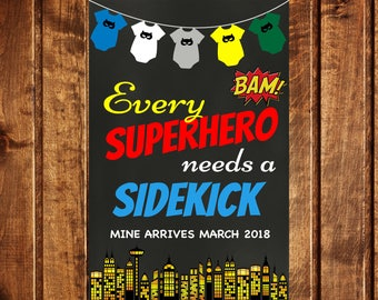 Big Brother Announcement - Superhero Pregnancy Announcement - Superhero Pregnancy Reveal - Every Superhero needs a sidekick - Printable